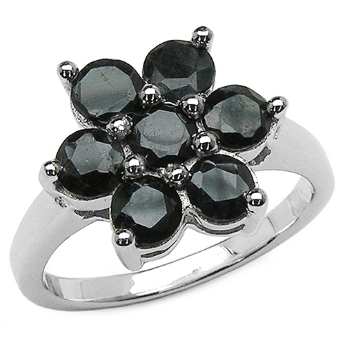 Sapphire-2.31 Carat Genuine Black Sapphire .925 Sterling Silver Ring