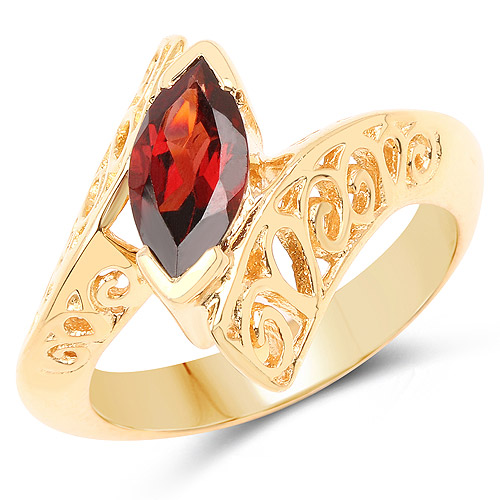 Garnet-14K Yellow Gold Plated 1.20 Carat Genuine Garnet .925 Sterling Silver Ring