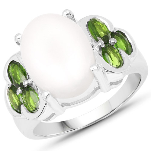Opal-4.52 Carat Genuine Opal and Chrome Diopside .925 Sterling Silver Ring