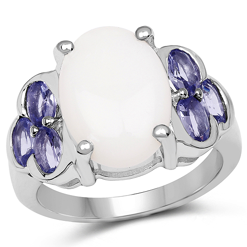 Opal-4.70 Carat Genuine Opal and Tanzanite .925 Sterling Silver Ring