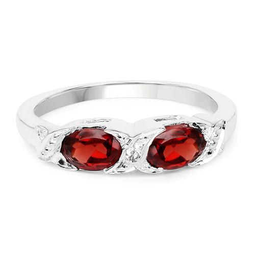 1.03 Carat Genuine Garnet & White Diamond .925 Sterling Silver Ring
