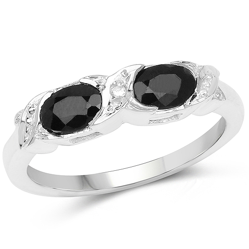 Sapphire-1.11 Carat Genuine Black Sapphire and White Diamond .925 Sterling Silver Ring