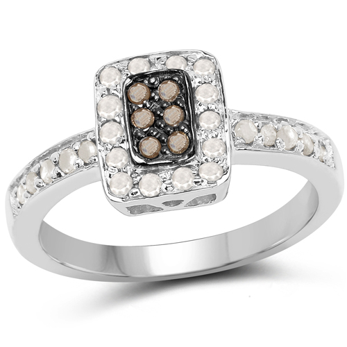 Diamond-0.36 Carat Genuine Champagne Diamond and White Diamond .925 Sterling Silver Ring