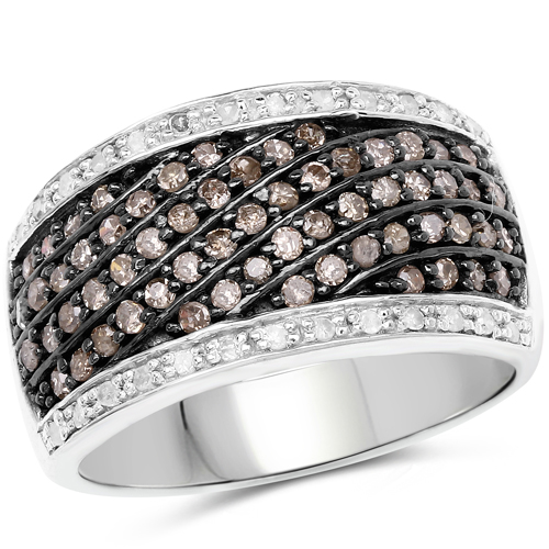 Diamond-0.87 Carat Genuine Champagne Diamond and White Diamond .925 Sterling Silver Ring