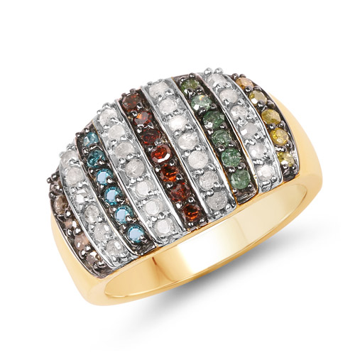Diamond-14K Yellow Gold Plated 0.84 Carat Genuine Multi Diamond .925 Sterling Silver Ring
