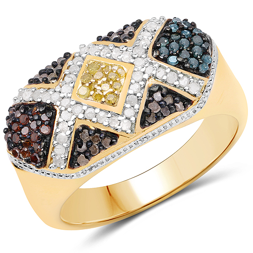 Diamond-14K Yellow Gold Plated 0.61 Carat Genuine Multi Diamond .925 Sterling Silver Ring