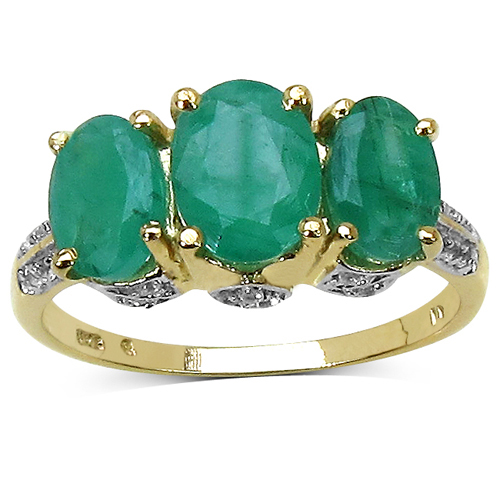 Emerald-14K Yellow Gold Plated 2.88 Carat Genuine Emerald & White Topaz .925 Sterling Silver Ring