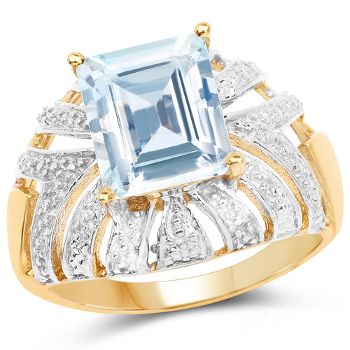 Rings-14K Yellow Gold Plated 3.00 Carat Genuine Aquamarine .925 Sterling Silver Ring