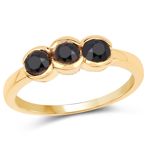 Diamond-14K Yellow Gold Plated 1.16 Carat Genuine Black Diamond .925 Sterling Silver Ring