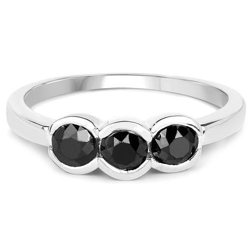1.16 Carat Genuine Black Diamond .925 Sterling Silver Ring