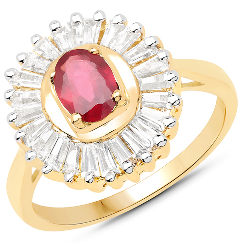Ruby-14K Yellow Gold Plated 2.44 Carat Glass Filled Ruby and White Topaz .925 Sterling Silver Ring