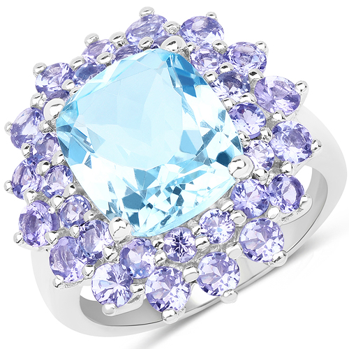 Rings-11.22 Carat Genuine Blue Topaz & Tanzanite .925 Sterling Silver Ring