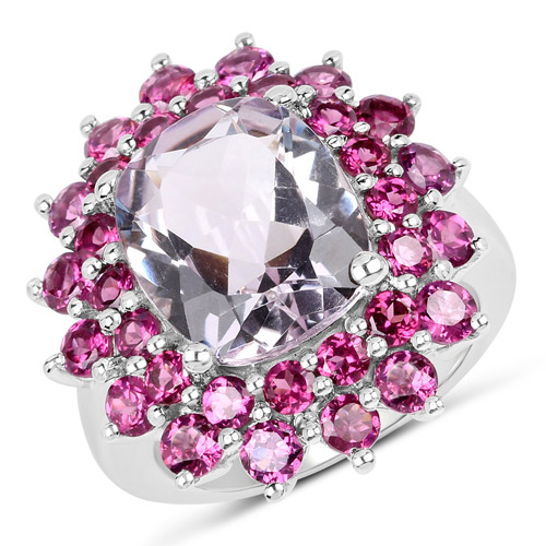 Amethyst-9.51 Carat Genuine Pink Amethyst and Rhodolite .925 Sterling Silver Ring
