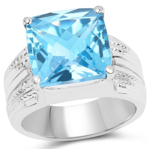 Rings-7.50 Carat Genuine Swiss Blue Topaz .925 Sterling Silver Ring
