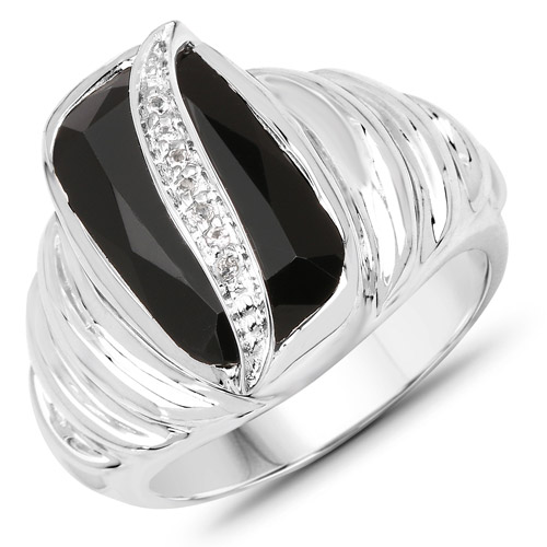 Rings-4.89 Carat Genuine Black Onyx and White Topaz .925 Sterling Silver Ring