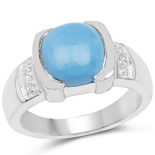 Rings-3.07 Carat Genuine Turquoise & White Sapphire .925 Sterling Silver Ring