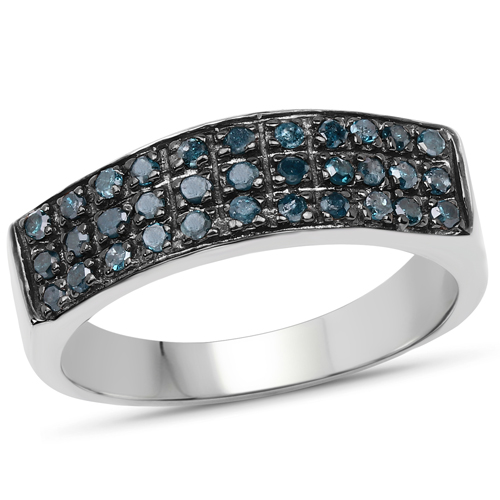 Diamond-0.40 Carat Genuine Blue Diamond .925 Sterling Silver Ring