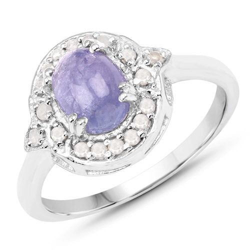 Tanzanite-1.92 Carat Genuine Tanzanite and White Diamond .925 Sterling Silver Ring