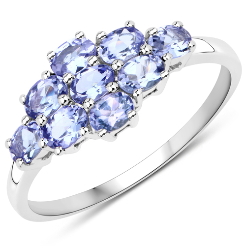 Tanzanite-0.90 Carat Genuine Tanzanite 10K White Gold Ring