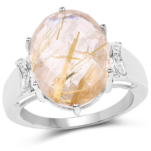 Rings-9.42 Carat Genuine Golden Rutile and White Topaz .925 Sterling Silver Ring