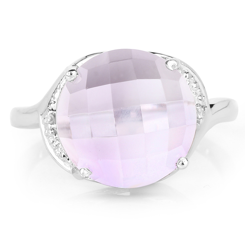 8.02 Carat Genuine Pink Amethyst and White Topaz .925 Sterling Silver Ring