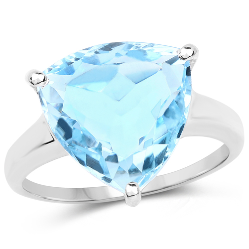 Rings-9.00 Carat Genuine Blue Topaz .925 Sterling Silver Ring