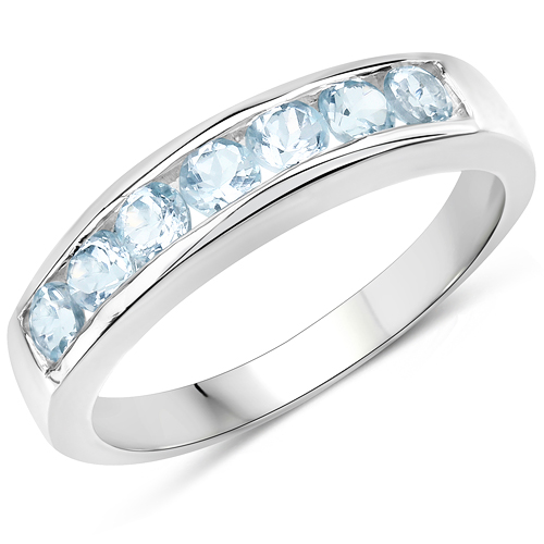Rings-0.84 Carat Genuine Blue Topaz .925 Sterling Silver Ring