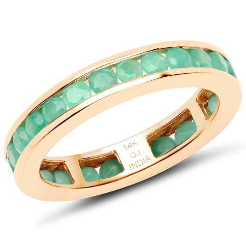 Emerald-1.43 Carat Genuine Emerald 14K Yellow Gold Ring