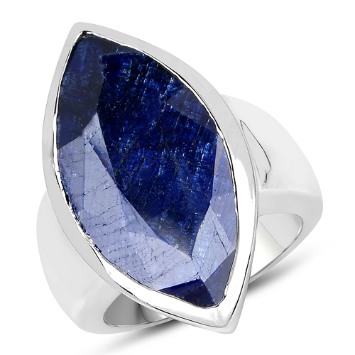 Sapphire-19.95 Carat Dyed Sapphire Brass Ring