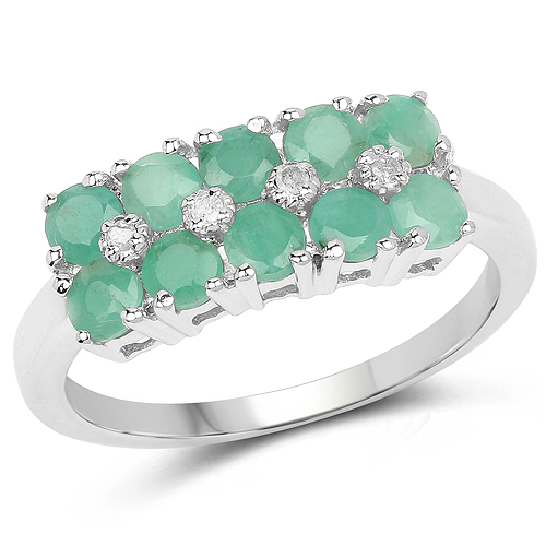 Emerald-0.85 Carat Genuine Emerald and White Diamond .925 Sterling Silver Ring