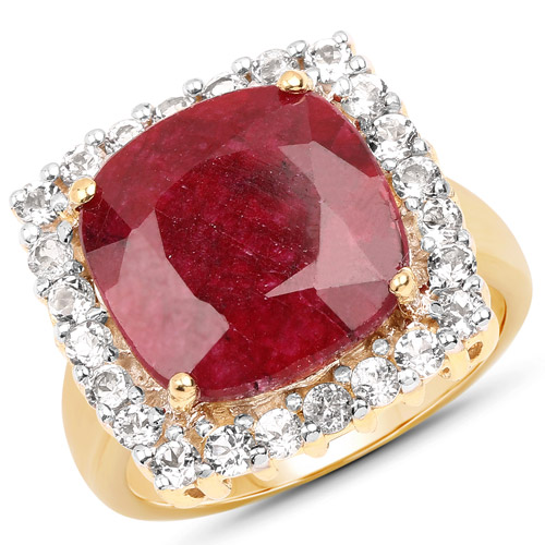 Ruby-18K Yellow Gold Plated 8.21 Carat Dyed Ruby and White Topaz .925 Sterling Silver Ring