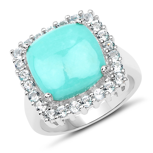 Rings-6.06 Carat Genuine Turquoise and Topaz Blue .925 Sterling Silver Ring