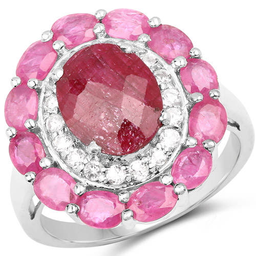 Ruby-6.01 Carat Dyed Ruby, Ruby and White Topaz .925 Sterling Silver Ring