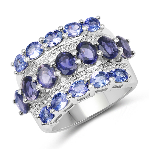 Tanzanite-3.87 Carat Genuine Tanzanite and Iolite .925 Sterling Silver Ring
