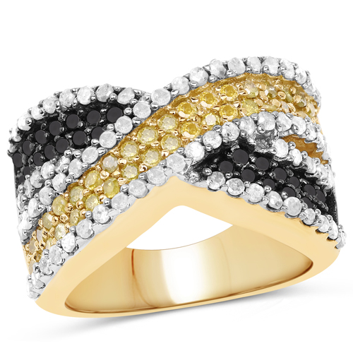 Diamond-14K Yellow Gold Plated 1.58 Carat Genuine Black Diamond, White Diamond & Yellow Diamond .925 Sterling Silver Ring