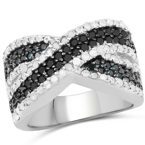 Diamond-1.57 Carat Genuine Blue Diamond, White Diamond & Black Diamond .925 Sterling Silver Ring