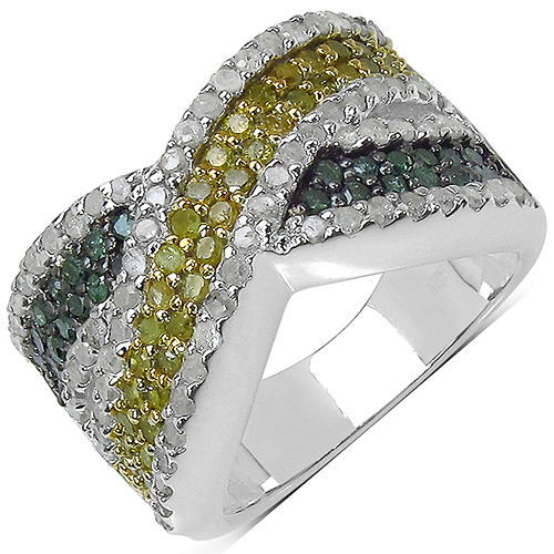 Diamond-1.44 Carat Genuine Multi Diamond .925 Sterling Silver Ring