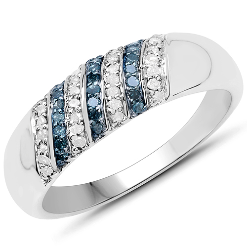 Diamond-0.26 Carat Genuine Blue Diamond and White Diamond .925 Sterling Silver Ring