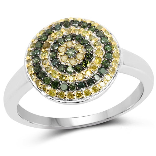 Diamond-0.39 Carat Genuine Green Diamond and Yellow Diamond .925 Sterling Silver Ring