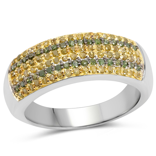 Diamond-0.43 Carat Genuine Green Diamond and Yellow Diamond .925 Sterling Silver Ring