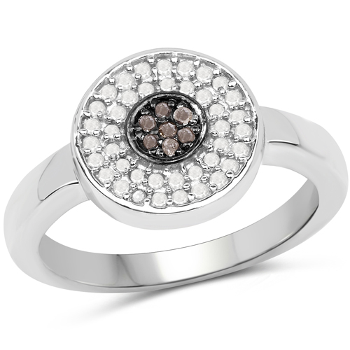 Diamond-0.20 Carat Genuine Champagne Diamond and White Diamond .925 Sterling Silver Ring