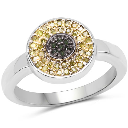 Diamond-0.20 Carat Genuine Green Diamond and Yellow Diamond .925 Sterling Silver Ring