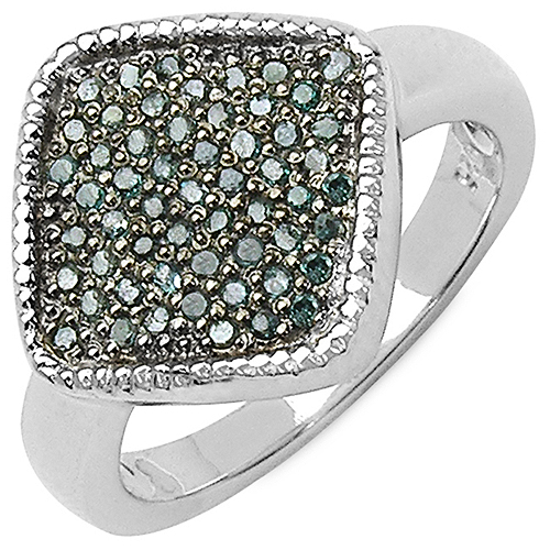 Diamond-0.28 Carat Genuine Blue Diamond .925 Sterling Silver Ring
