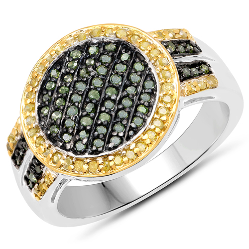 Diamond-0.44 Carat Genuine Green Diamond and Yellow Diamond .925 Sterling Silver Ring