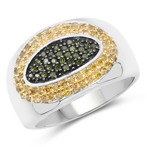 Diamond-0.38 Carat Genuine Green Diamond and Yellow Diamond .925 Sterling Silver Ring