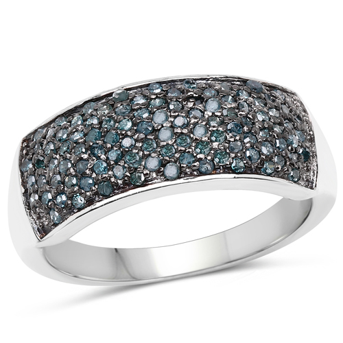 Diamond-0.42 Carat Genuine Blue Diamond .925 Sterling Silver Ring