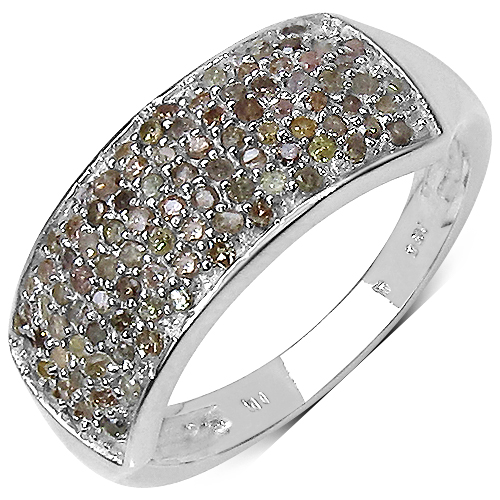 Diamond-0.42 Carat Genuine White Diamond .925 Sterling Silver Ring