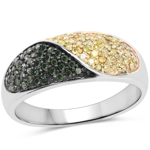 Diamond-0.32 Carat Genuine Green Diamond and Yellow Diamond .925 Sterling Silver Ring