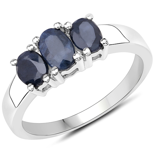 Sapphire-1.55 Carat Genuine Black Sapphire .925 Sterling Silver Ring