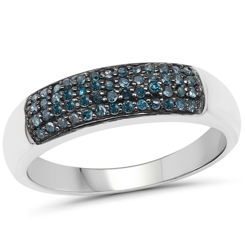 Diamond-0.22 Carat Genuine Blue Diamond .925 Sterling Silver Ring